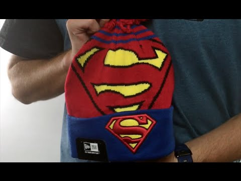 Superman 'LOGO WHIZ' Red-Royal Knit Beanie Hat by New Era