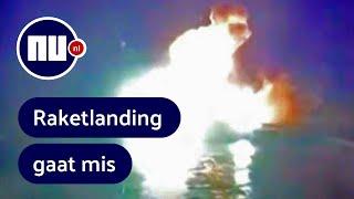 Bekijk crash hoofdraket Falcon Heavy bij landing op zee