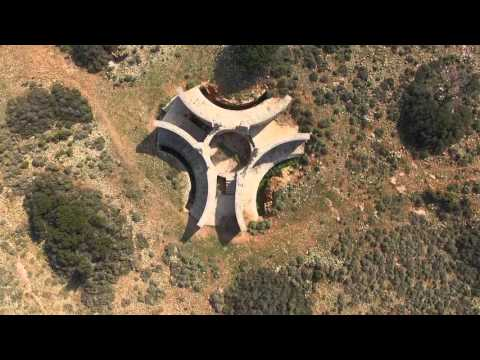 War ruins on top of Patella (4K). Leros Island - Greece, aerial video