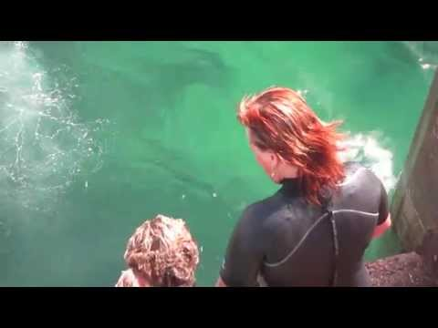 SJ dives in the green waters of Findochty Harbour