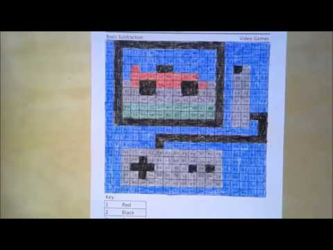 Video Game- Subtraction Speed Coloring