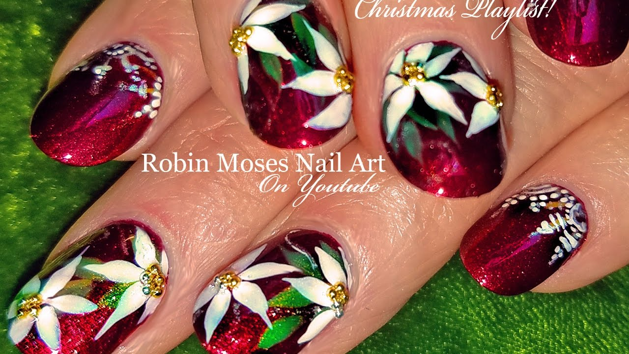 diy christmas nails red poinsettia