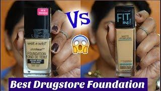 Wet n Wild PHOTOFOCUS VS Maybelline FIT ME Foundation| Best Drugstore Foundation| Comparison 2018