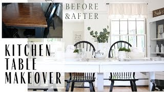 Table Makeover ~ Kitchen Table Redo ~ Painted Furniture ~ Farmhouse Table