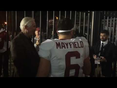 Baker Mayfield celebrates Oklahoma