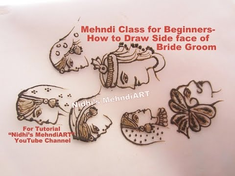 Bridal Mehndi Training : Mehndi class for beginners how to draw side face of bride groom