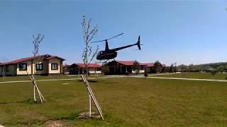 Взлет вертолета. Загородный клуб Фишерикс / Fisherix в Подмосковье