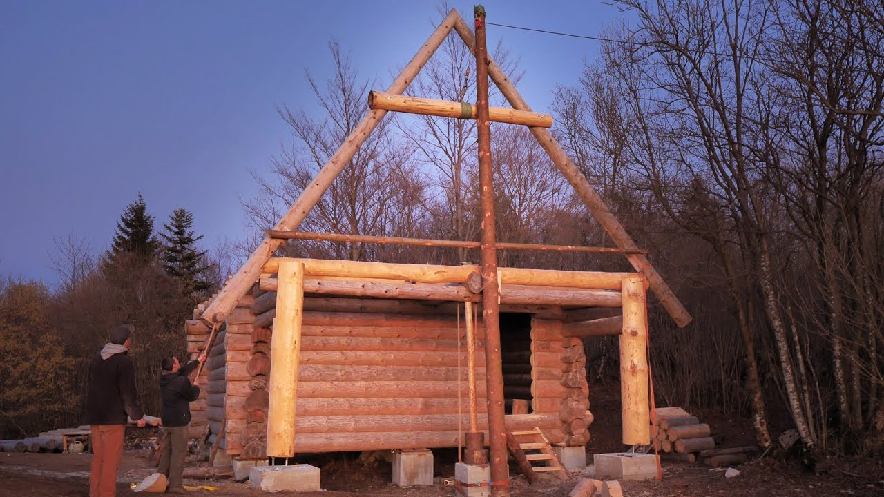 Building Off Grid Log Cabin S 2 Ep 4 The First Roof Triangle Is Up Youtube
