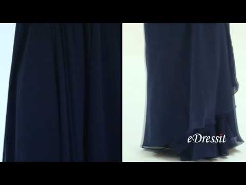 Stylish Navy Blue Evening Dress With V Neck