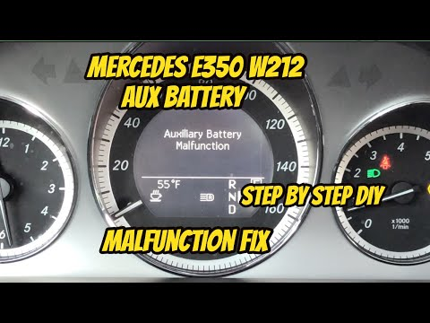 Mercedes E350 W212 auxiliary battery location and malfunction DIY fix!  Step by step replacement!