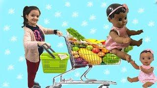 MASAL VE LUVABELLA BEBEK MARKETE GİTTİ! Doing Shopping - Supermarket Song - Kids  Shopping Cart
