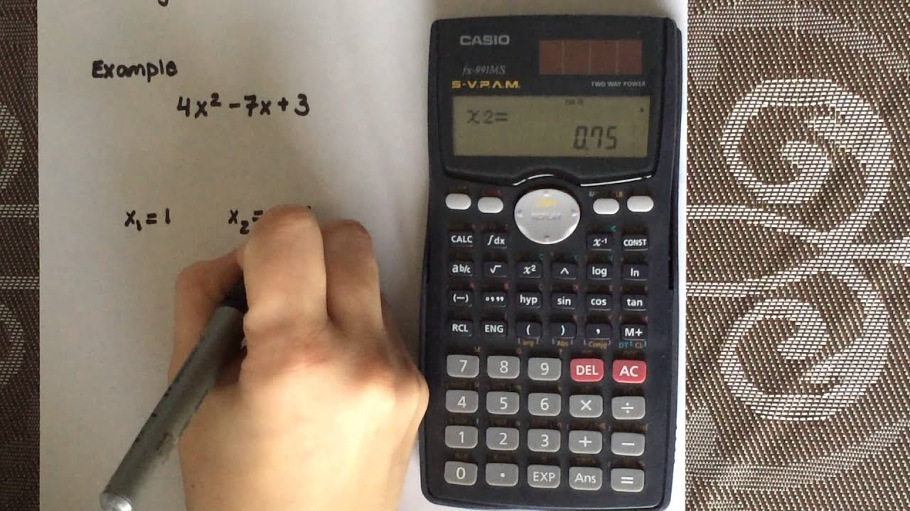 Factoring a quadratic equation using a calculator (Casio fx-991Ms)