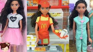 Disney Moana Doll Real Life - Works at Mc Donalds, Mall and Takes Care of Sick kids