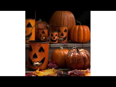 Halloween Set of 5 Metal Pumpkin Luminaries