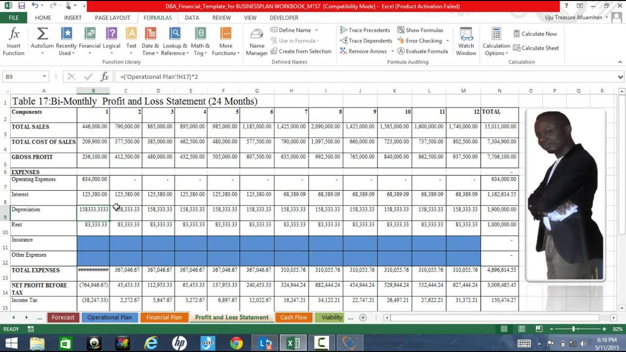 Business Plan Excel Template Explained Profit And Loss By Albert - Excel template business plan
