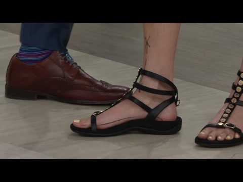 45a913f7436c2 Vionic Orthotic Leather Multi-Strap Sandal - Sonora on QVC - YouTube