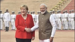PM Modi receives German Chancellor Dr. Angela Merkel at Rashtrapati Bhavan