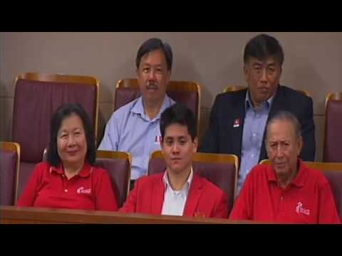 Singapore's Olympic champion Joseph Isaac Schooling receives a standing ovation
