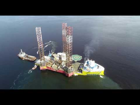 Vessel Biglift transporting Jack up rig Exomna from Europe to Gabon.