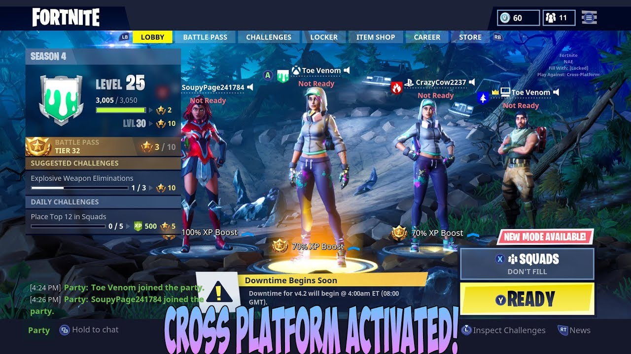 How To Crossplay With Ps4 Xbox One Pc In Fortnite Youtube - how to crossplay with ps4 xbox one pc in fortnite