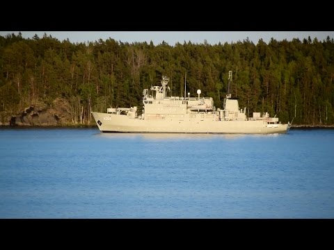 Swedish Navy Ship HSwMS Trossö A264 Akademik Shuleykin near Stockholm