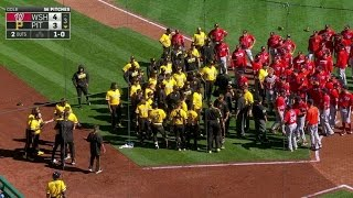WSH@PIT: Benches clear after ball thrown behind Kang