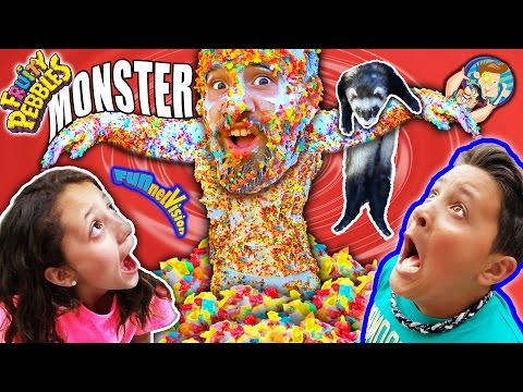 CEREAL MONSTER SCARE CAM!  Fruity Pebbles + Glue + Dallas the Pizza Guy + Ferret (FUNnel Vison Vlog)