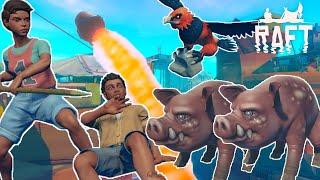 【2人実況】感染した凶暴な豚と格闘!そしてロケットを打ち上げるイカダ漂流生活  - Raft - Chapter2 #2