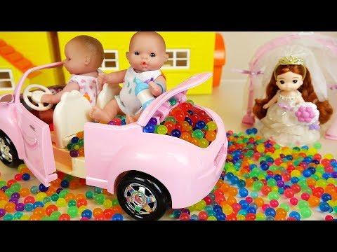 Ba doll car princess toys and swing tree toys play