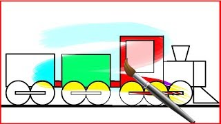 How To Draw A Train Coloring Page for Kids | Learn Colors