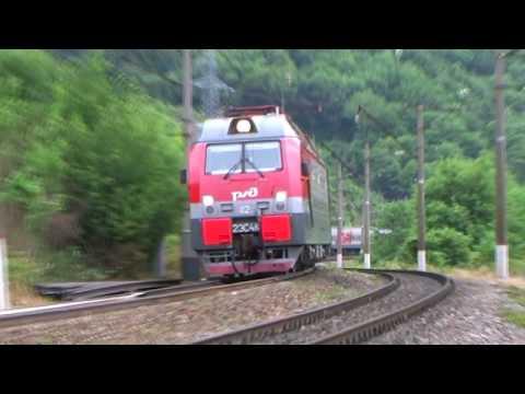 Электровоз 2ЭС4К- 112 с поездом Саратов Адлер перегон Туапсе Греческий