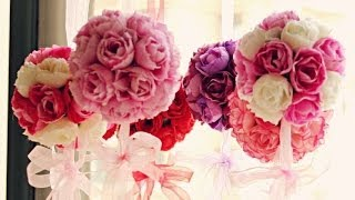 Repeat youtube video Faça você mesma: Bola de Flor - Decoração p/ festas e ambientes