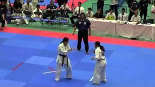全日本女子(19名)準決勝 781田中千尋VS785永吉美優 http://kyokushin-sh...