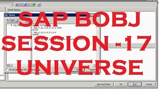 Universe - Part - 10 - Creating Filters - SAP Business Objects Tutorial (BOBJ) 4.0 - Session - 17