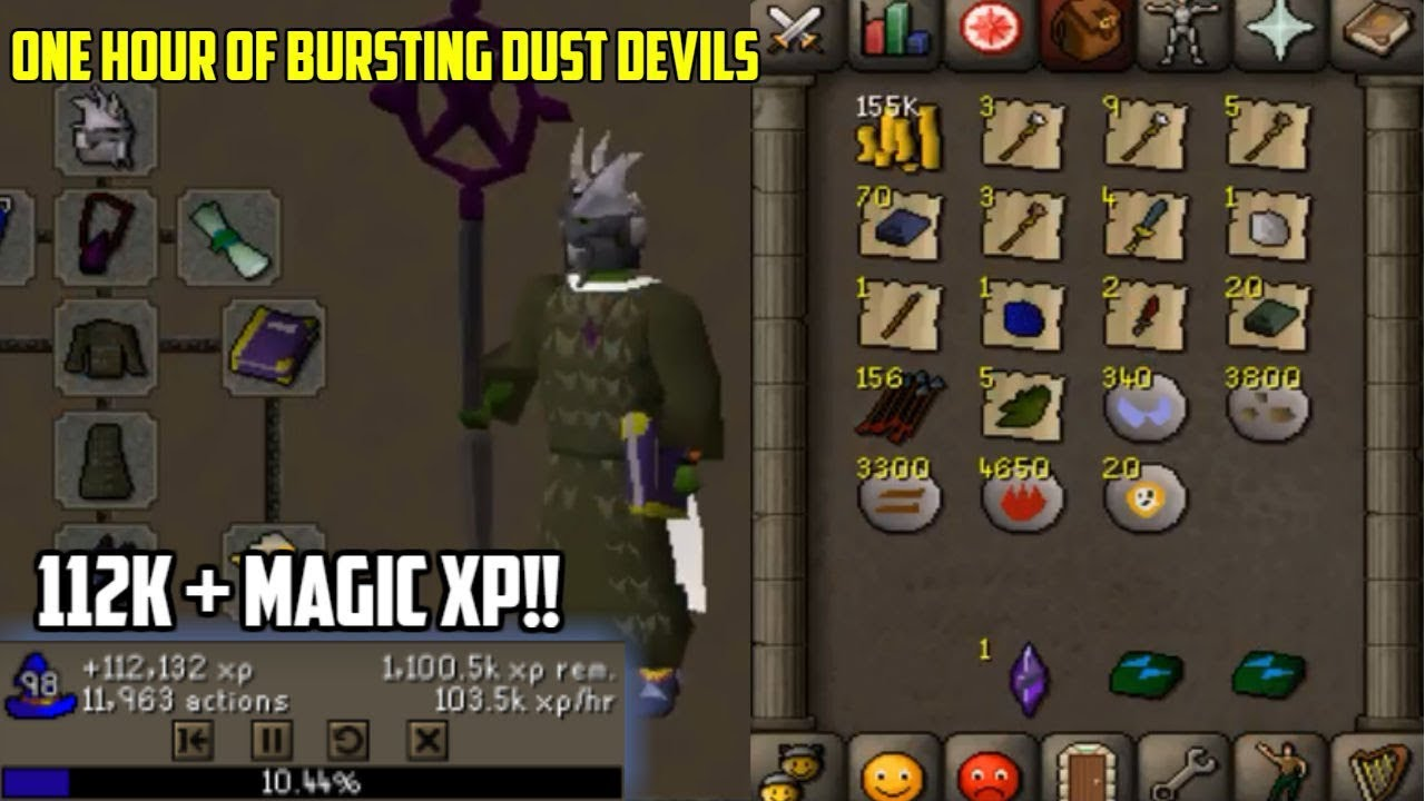 Osrs Loot From One Hour Of Bursting Dust Devils Insane Profit Magic Xp
