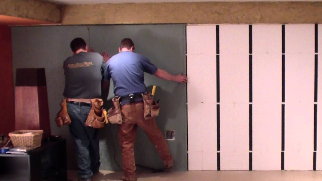 Insofast drywall install youtube How to finish a concrete wall