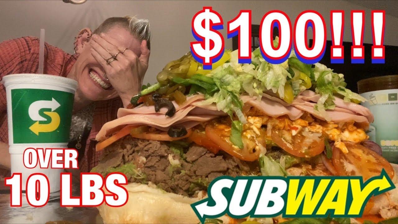 Download $100 SUBWAY SANDWICH !!   OVER 10 LBS   MOM VS FOOD