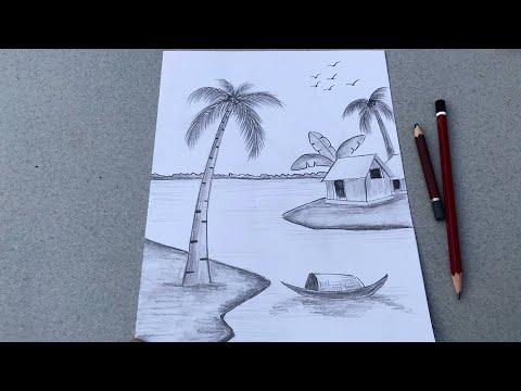 vẽ tranh phong cảnh bằng bút chì | How to draw scenery with pencil