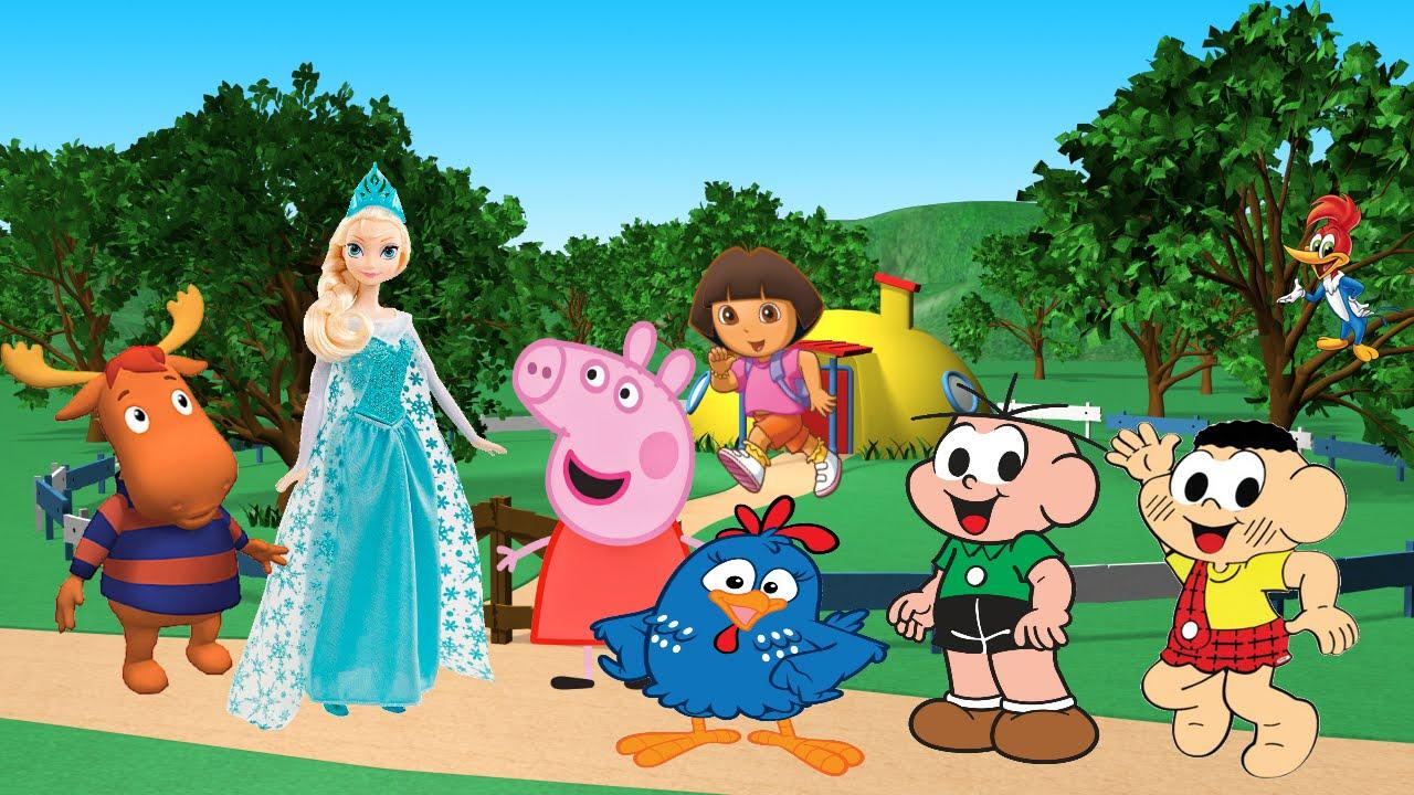 Desenhos Turma Da Monica Peppa Pig Princesas Disney Frozen Dora
