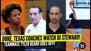 Duke Coach K, Texas' Shaka Smart Watch DJ Steward While Teammate Tyler Beard GOES OFF!