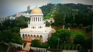 Сады Бахаи, Хайфа - вид с воздуха(Усыпальница Баба является священным местом для бахаи и видеосъемка тут ограничена и местами даже запрещен..., 2013-03-01T22:32:12.000Z)