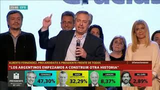 Alberto Fernández tras su triunfo en las PASO: