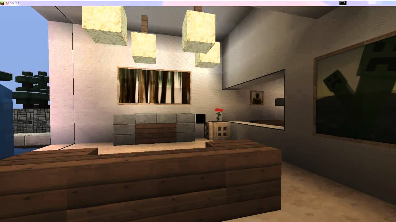 Casa moderna para minecraft 1 4 2 hasta 1 5 2 youtube for Interiores de casas modernas