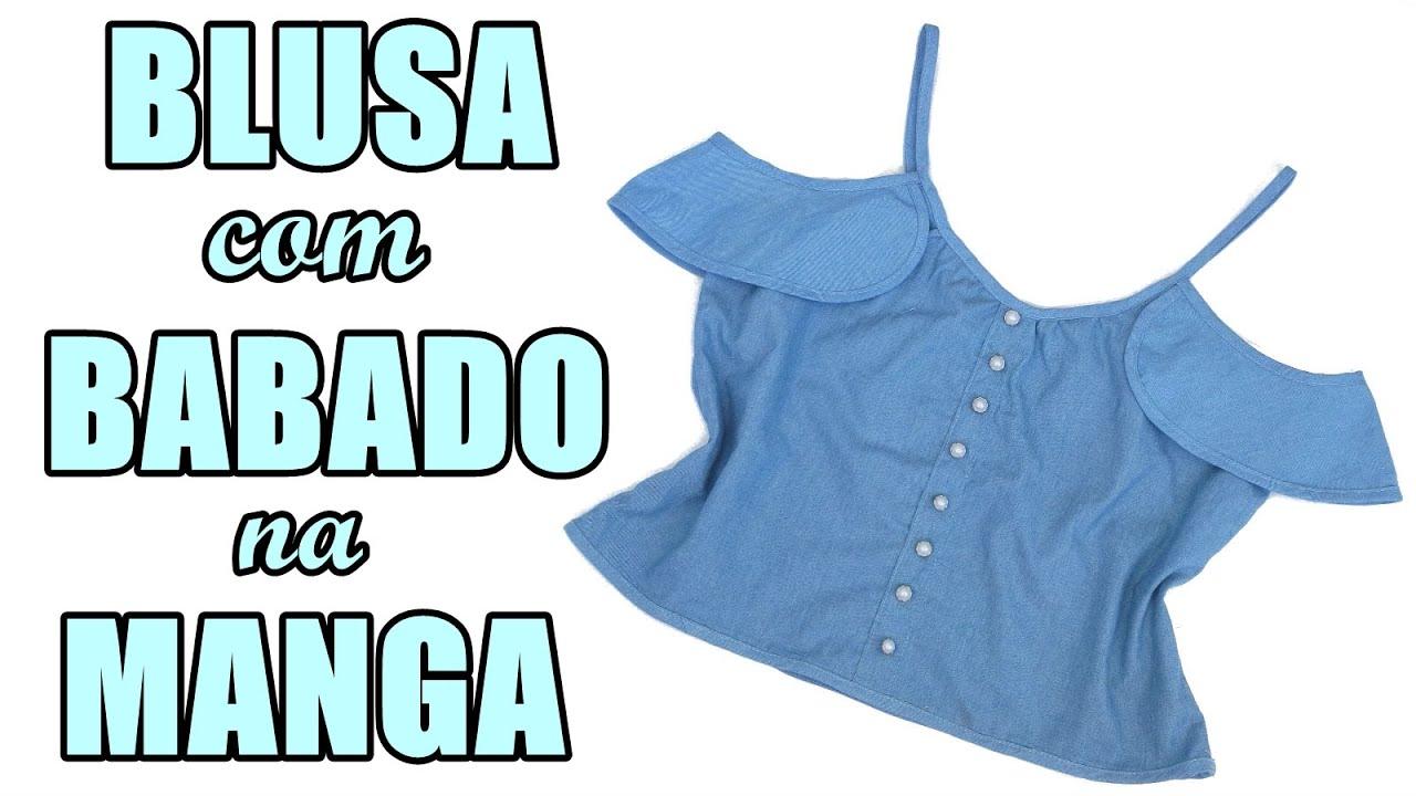 adcf6620e7 Como fazer Blusa de alcinha com babado na manga - Transforme camisa ...