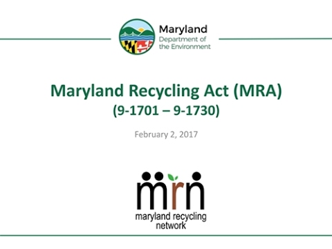 Maryland Recycling Act: An Overview and Update