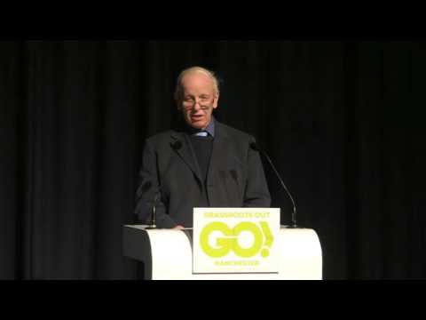 Trade Unionist John Boyd speaks at the Grassroots Out event in Manchester