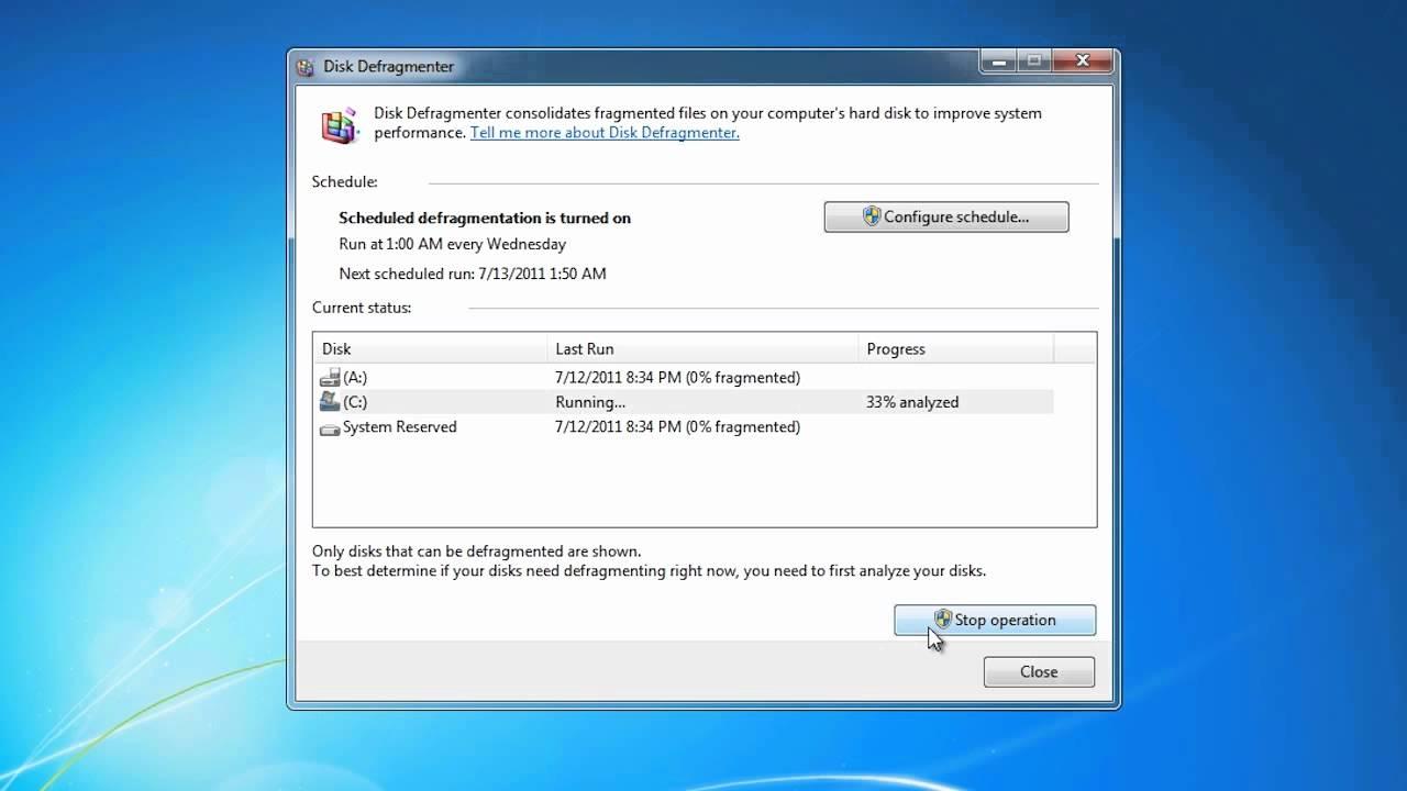 how to run disk defragmenter in windows 7