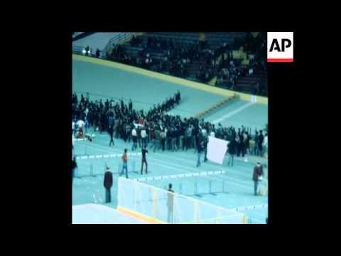 SYND 14 3 77 BASQUE DEMONSTRATORS INVADE ATHLETICS STADIUM
