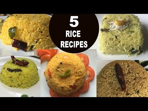 5 Easy And Different Rice Recipes | South Indian Rice Recipes