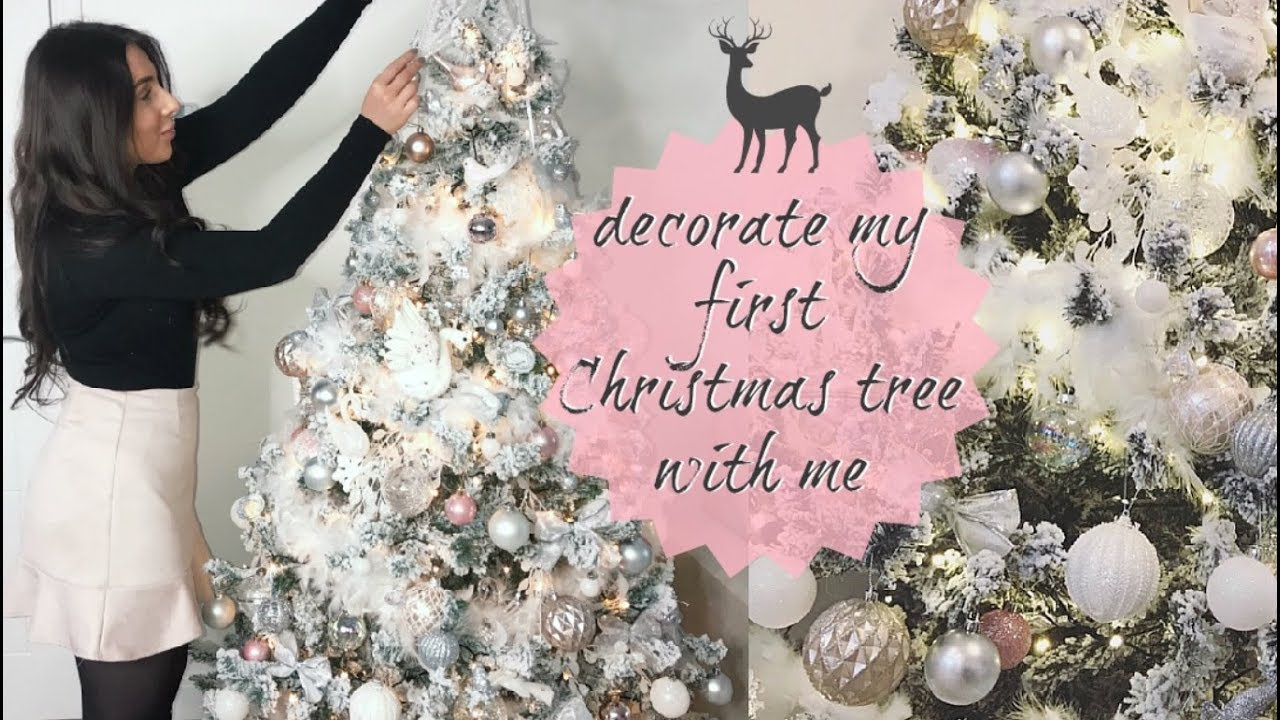 Decorate My Flocked Christmas Tree With Me White Blush Pink Silver Feathers Hazel Wood